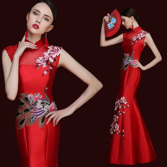 b1b70fb1c cheongsam chinese style long qipao red red mermaid wedding lace traditional  dresses for women evening 2016 high quality satin