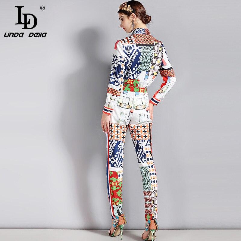 Piste Femmes Manches Pièce 2 Ld Motif Vintage Pantalon Linda Nouvelle Multi Della Costume Imprimé Longues Blouses Ensemble À Mode Designer Des Set 74Fqp