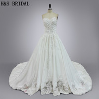 Real Model 2016 Wedding Gown Luxury Satin Royal Train With Bows Back Lace Wedding Dresses