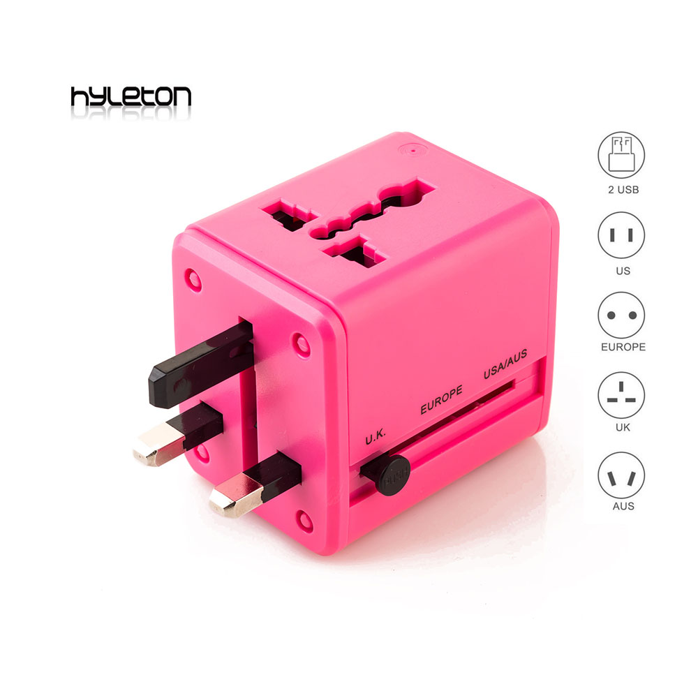 Hyleton travel adapter Universal Travel Power Adapter All In One Wall Charger AC Power Plug Adapter For USA EU UK AUS 2X USB