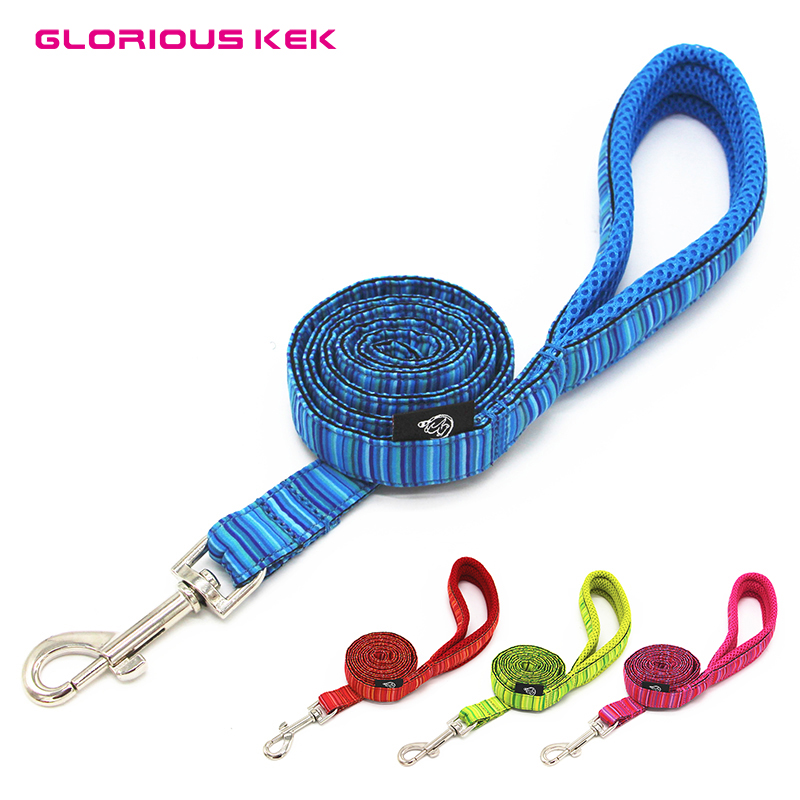 GLORIOUS KEK Dog Leash Nylon Soft Mesh Padded Dog Leash Rope Walking Training Dog Leads Outdoor Running Dog Pet Leash 4 Colors