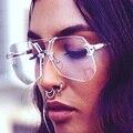 2017 new armação sem aro óculos de sol das mulheres da moda verão 2017 estilo marca designer retro senhoras óculos de sol para homens uv400 óculos de sol óculos de vidro homens