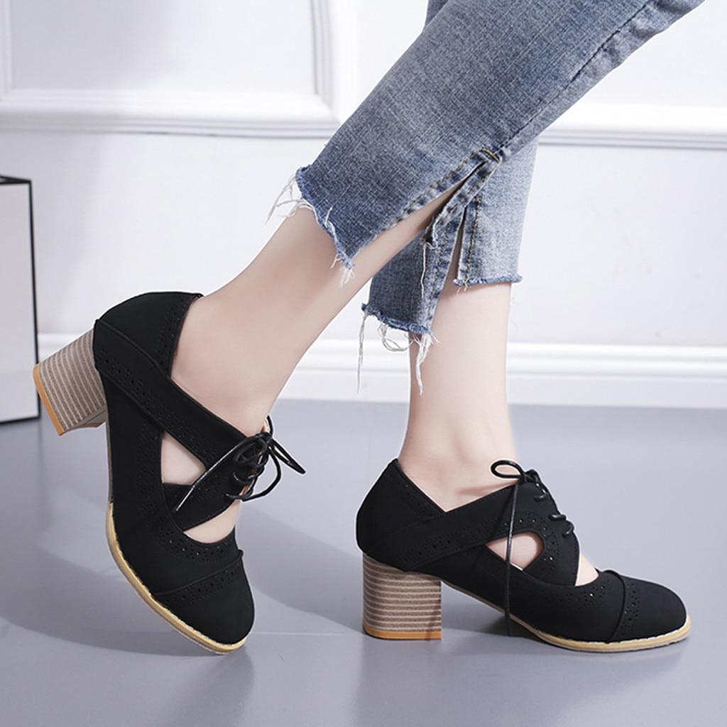 Color Noir gris Femmes Xtn Carré marron Simples Solid Lacent Feminino Creux Chaussures Talons Pompes Sapato wZUxqSfgH