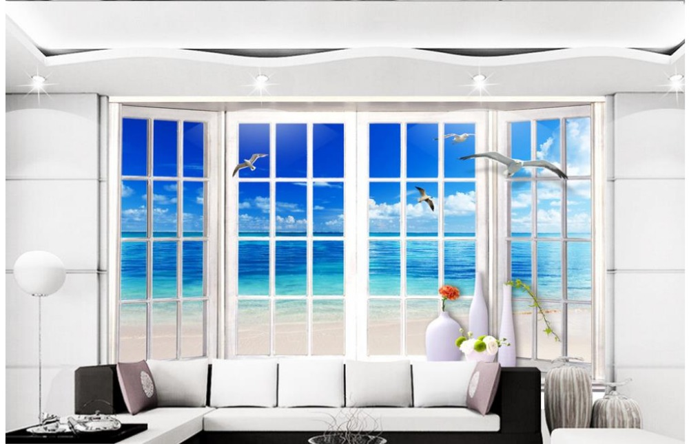 Online get cheap floor ceiling windows for B q living room wallpaper