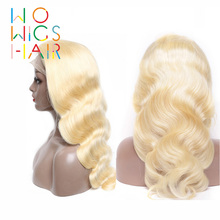 WoWigs Lace Front Wigs 613 Blonde Body Wave Remy Hair Glueless Frontal Pre Plucked Natural Hairline With Baby