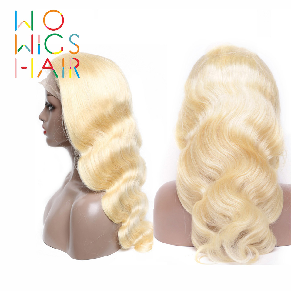 WoWigs Lace Front Wigs 613 Blonde Body Wave Remy Hair Glueless Lace Frontal Wigs Pre Plucked Natural Hairline With Baby Hair image