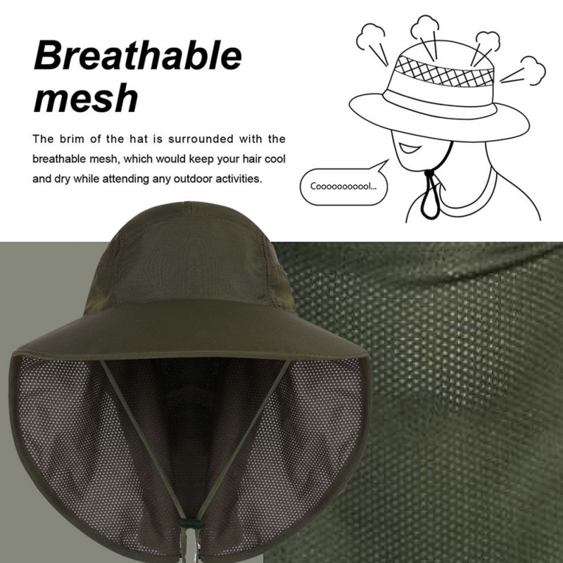 Fishing Cap with String Ear Neck Flap Cover Double Layer Mesh Adjustable Breathable Waterproof Sunshade Folding Mesh Sports Hat in Fishing Caps from Sports Entertainment