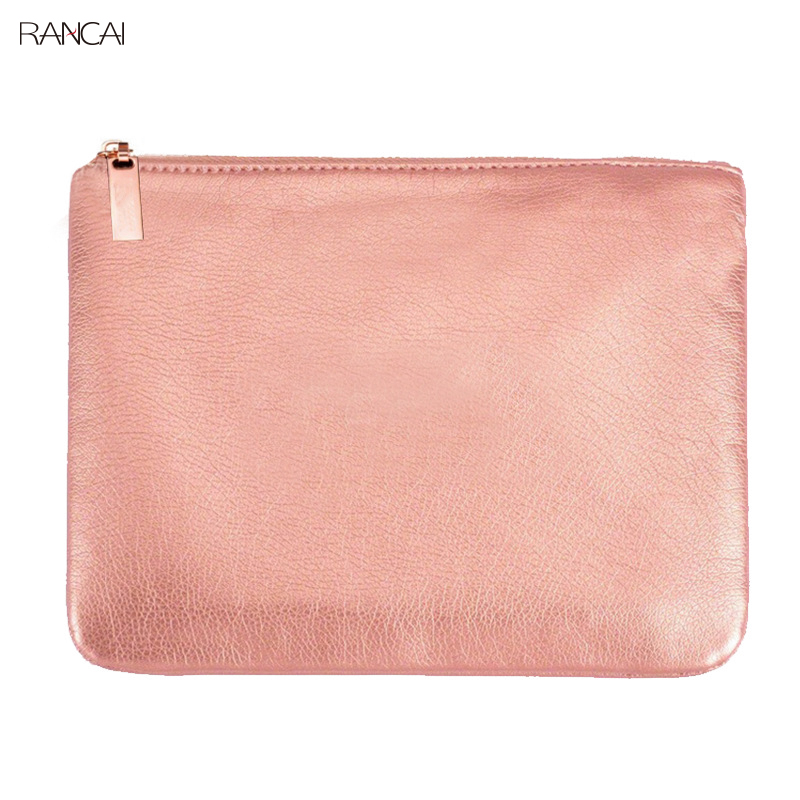 RANCAI 1pcs Pink Makeup Case Holder Eyes Face Brushes Bag Women Cosmetic Cluth Pouch PU Leather Bags With Zipper Free Shipping
