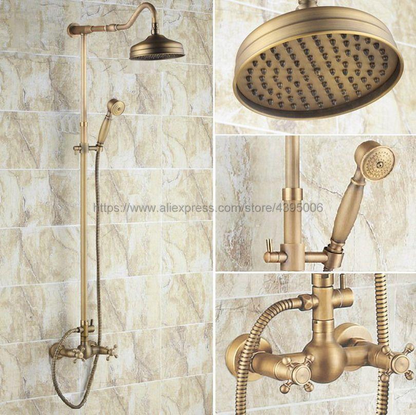 Antique Brass Bathroom Shower Faucet 8 Rainfall Shower Head Dual Handles with Hand Shower Brs137 factory direct sale best price 8 brass head shower with hand shower bathroom shower faucet antique