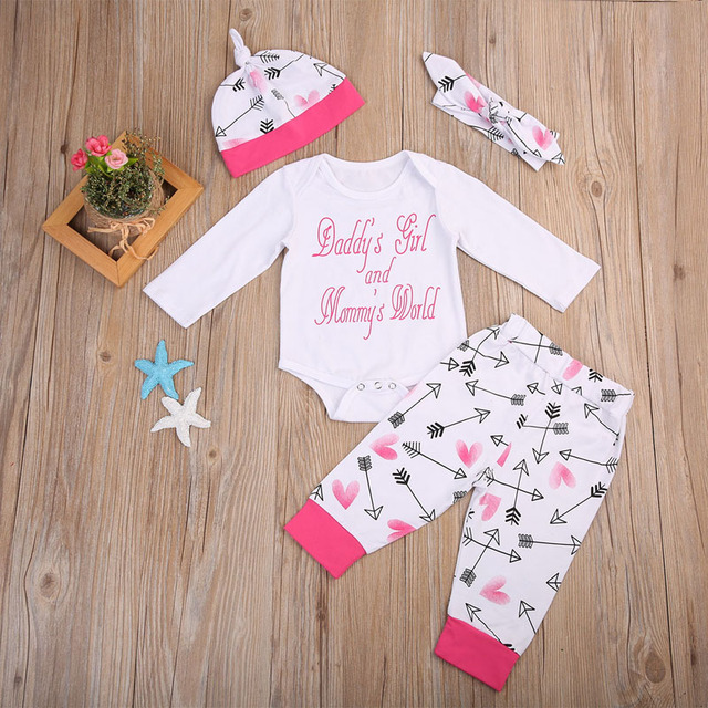 1a9f0d4e8 Newborn Baby Girl Clothes 4pcs Infant Baby Girls Romper+Arrows+Pants ...