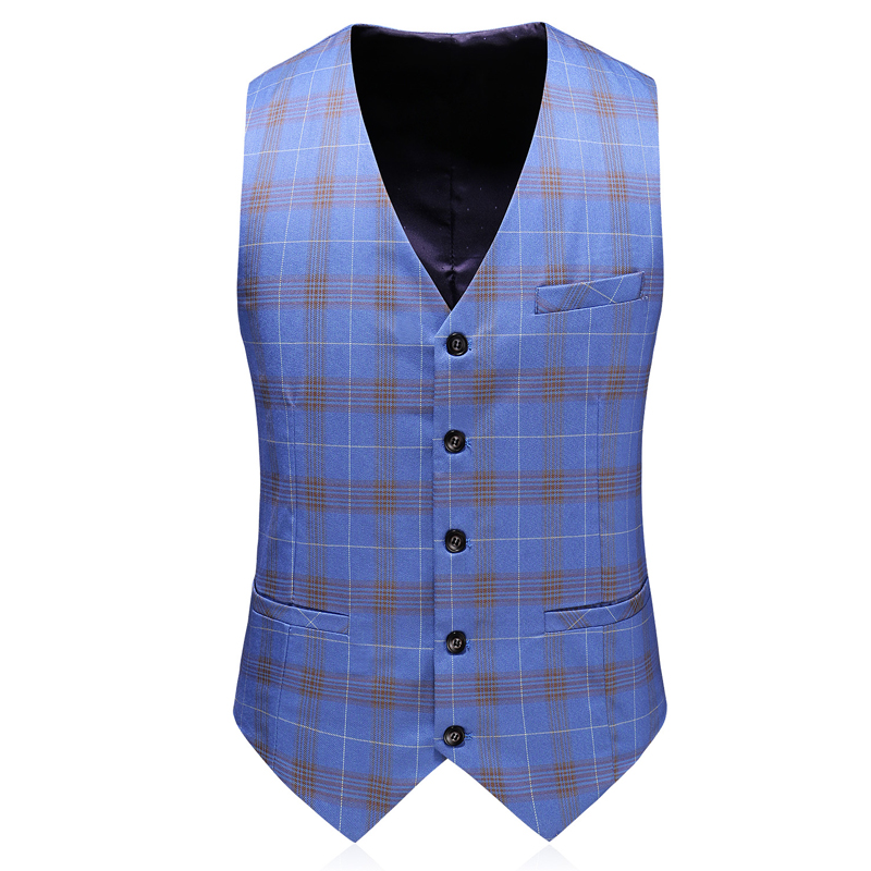 Double Breasted Plaid Suit for Men Light Blue Mens Suits Designers 2019 Terno Slim Fit Masculino Groom Wedding Suit Man - 4