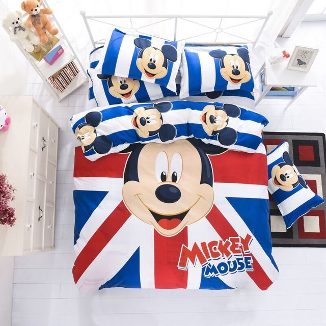 4PCS/Sets Queen Size Cartoon Mickey Mouse Baby Children Bedding Set Include Kids Quilt Cover Bed Sheet Pillowcase