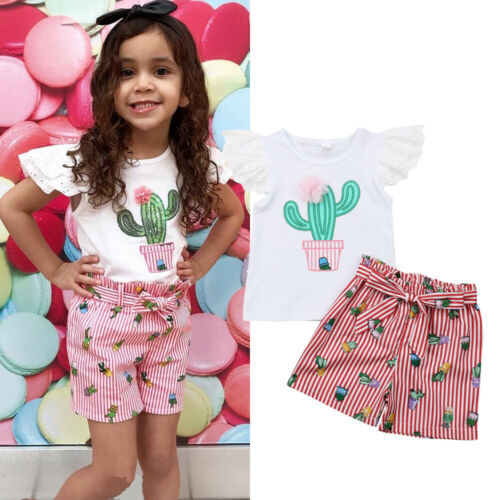 Emmababy 2PCS Baby Girls Summer Clothes Lace Cactus Tops+Stripe Shorts Outfits(China)