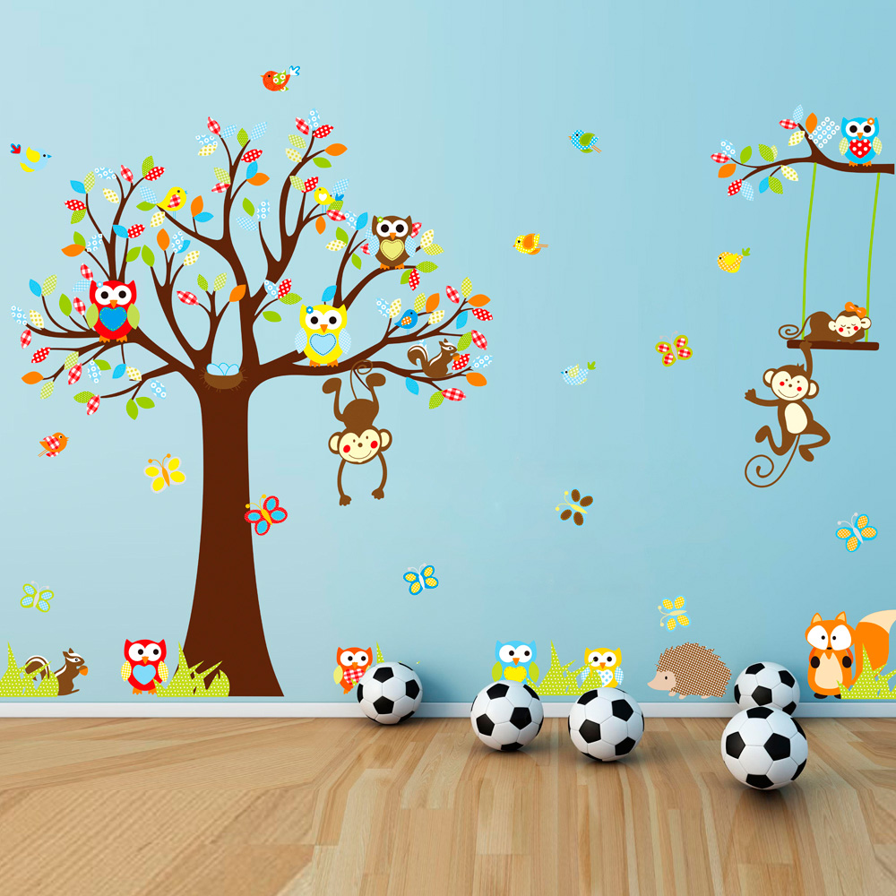 Bedroom wall decoration for kids - Removable Pvc Wall Posters Sticker Cute Monkeys Owl Tree Pictures Kids Room Decor Cartoon Child Bathroom