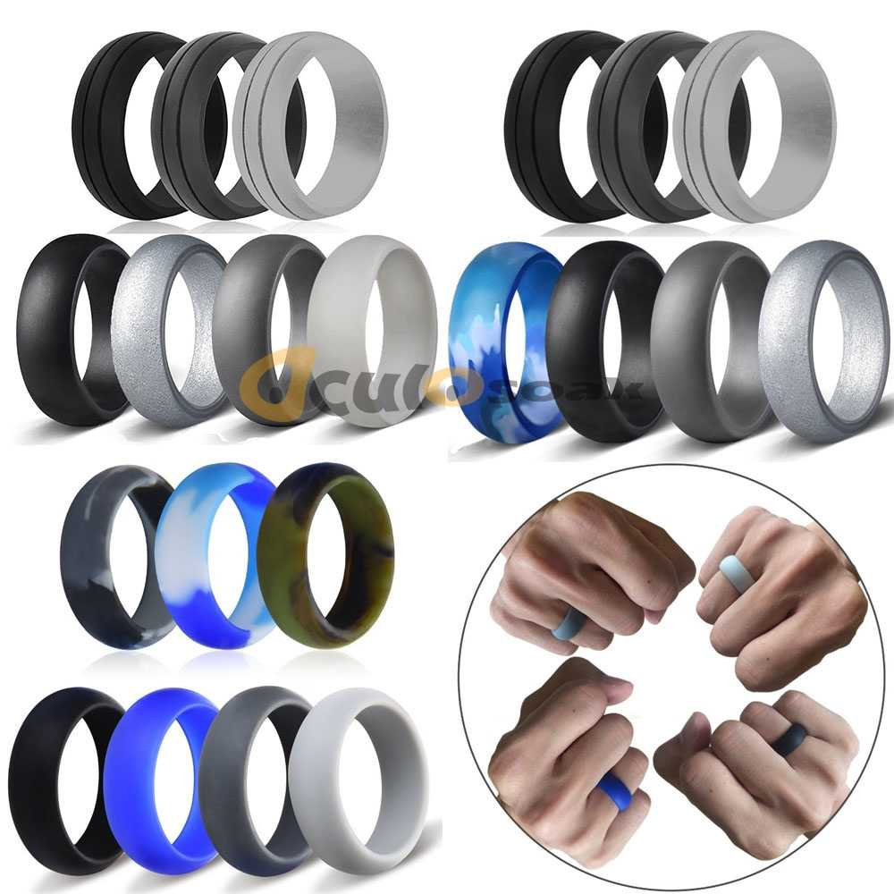 7pcs/set Environmental Silicone Ring Outdoor Sport Hypoallergenic Crossfit Flexible Rubber Finger Rings Men Women Wedding Ring
