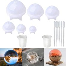 1 Set Sphere Silicone Resin Molds Round Mold, Epoxy Ball for Jewelry, Soap Candle DIY, with Nonstick