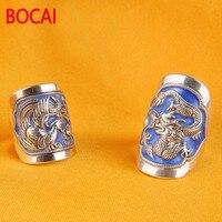 Sterling Silver Ring 999 FINE SILVER RING wedding ring dragon enamel Shaolan retro opening ring