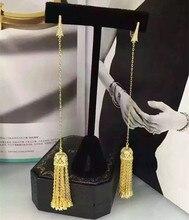 Créateur de mode 925 bijoux en argent Sterling 3A zircon cubique fête longue boucle doreille