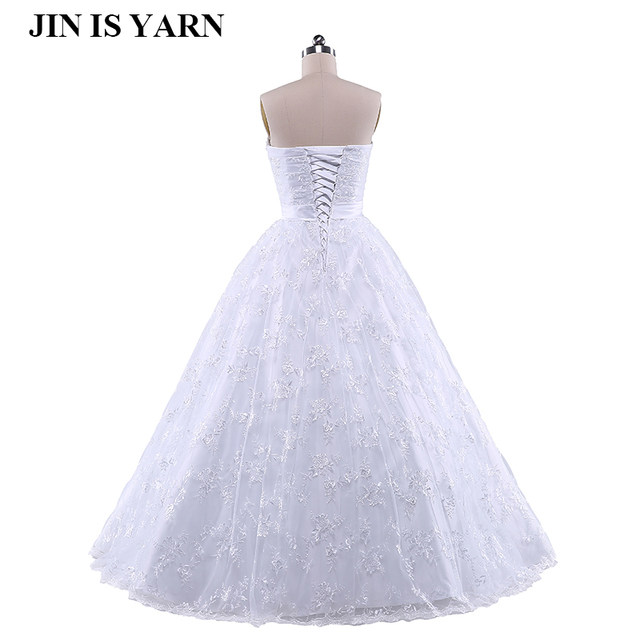 Online Shop Embroidery Corset Strapless White Ivory Gown With