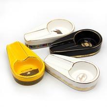 COHIBA Pocket Cigar Ashtray Portable Gadgets Round Smoking Cigarette Ashtrays 1 Holder with Yellow White or B