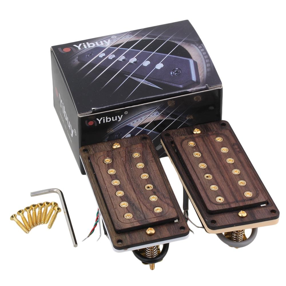 Yibuy 2 x Rose Wood Golden Screws Neck Bridge 50/52mm Electric Guitar Humbucker