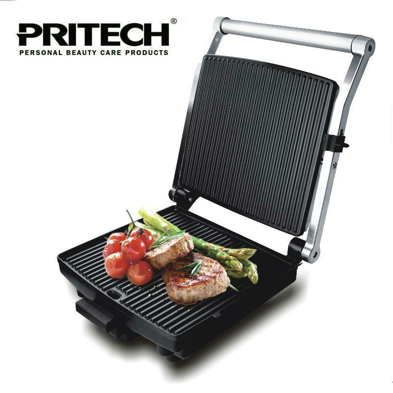 PRITECH Aluminum 220V 1400W Vertical Grill Smokeless Electric BBQ Grill Pan Machine Non-Stick Cooking Surface automatic smokeless bbq grill household electric hotplate stove teppanyaki barbecue pan skewer machine stainless steel outdoor
