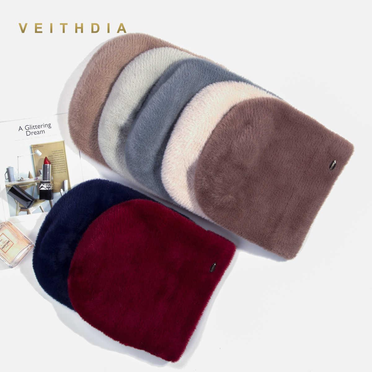 VEITHDIA คุณภาพสูงผู้หญิงหมวกฤดูหนาวหมวกแฟชั่นกระต่ายกำมะหยี่ถักเหมือน Mink หมวกขนสัตว์หญิงสาวคู่หนา Beanies