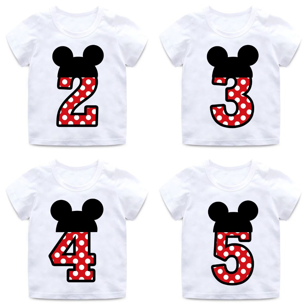 Boys And Girls Happy Birthday Number 1-9 Letter Print T Shirt Enfant Summer White T-shirt Kids Funny Birthday Present,ooo2416