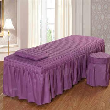 1PC Breve Bellezza Gonna Letto Salone di Bellezza Copriletto con Foro Viola Poliestere/cotone 5 Size 11 opzioni di colore # s