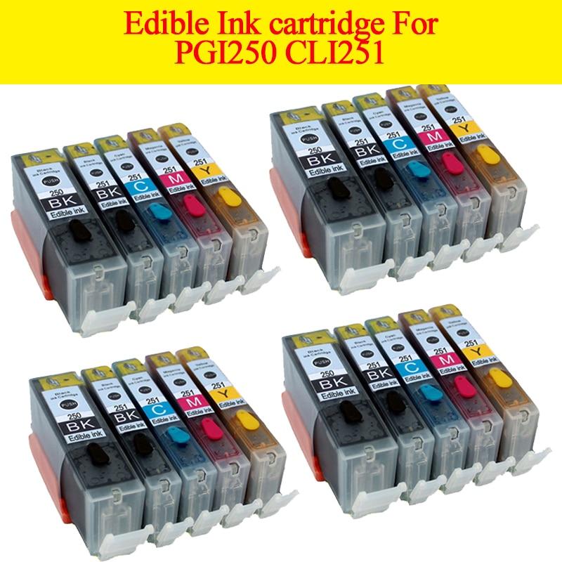 20pcs PGI250 CLI251 PGI 250 Xl Edible Ink Cartridge For Canon Pixma MG5422 MG5520 MG5522 MG5620 MG6420 MG6320 MG6620 MX722 MX922