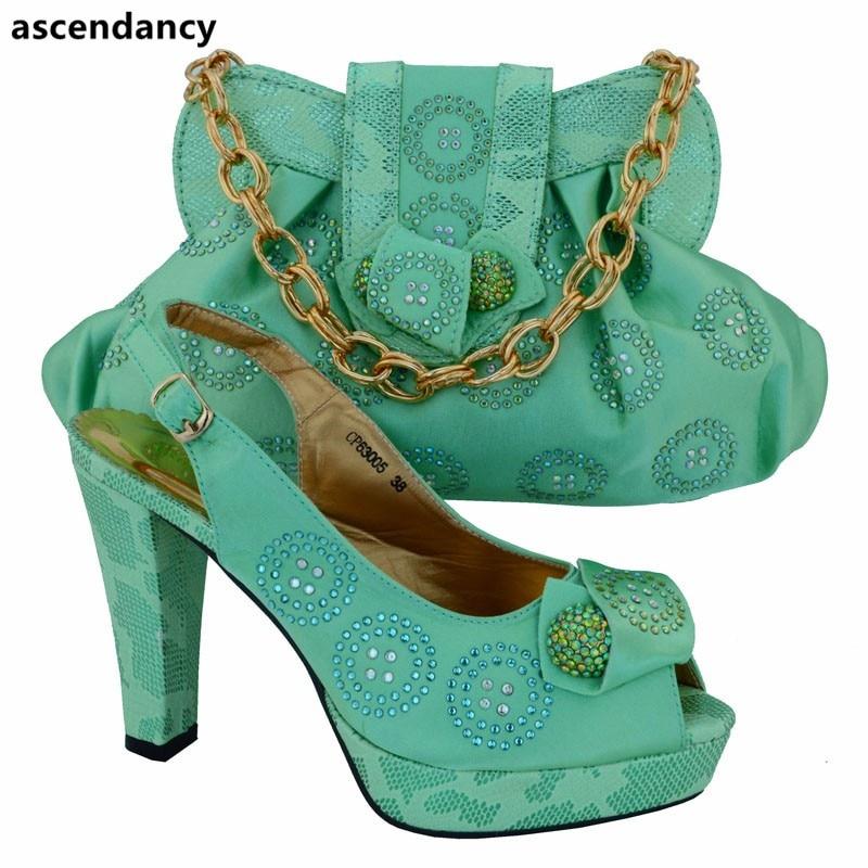 Bolso La water amarillo Nigeriano Para Con De Decoradas Green A Color Calidad Rosado Y Boda Rhinestone Alta Zapatos Verde Conjunto Bolsas Juego Bolsa PZSxR1x