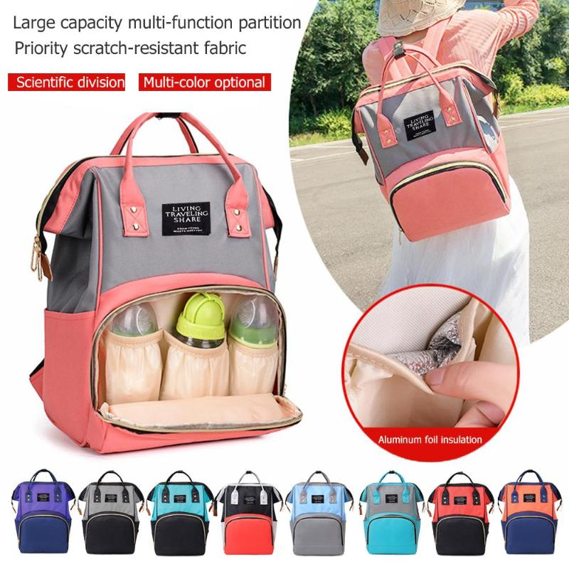 Fashion Hit Color Mommy Travel Backpacks Large Capacity Nylon Maternity Nappy Top-handle Bags Baby Care Nursing Diaper Packs