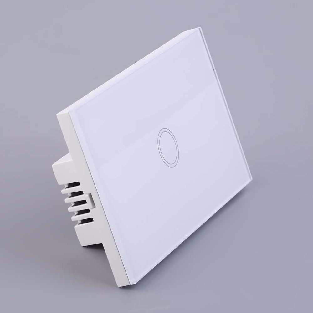 Smart Home White Crystal Glass Panel 1 Gang US Plug Light Touch Sense Screen Switch With LED Indicator 2017 smart home crystal glass panel wall switch wireless remote light switch us 1 gang wall light touch switch with controller