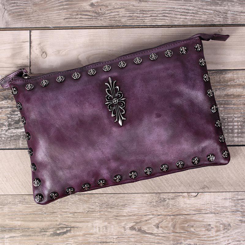 ФОТО Genuine Leather Cowhide Retro Rivet Hand Bag Vintage Solid Women Party Day Clutches Crossbody Bags Shoulder Handbags Satchels