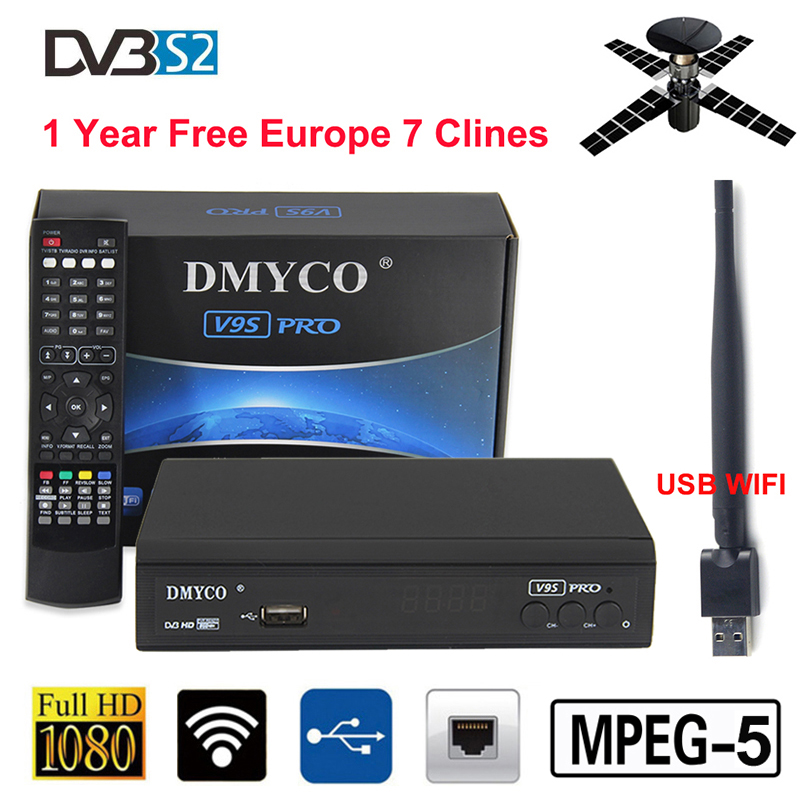 Receptor V9S Pro DVB-S2 HD FTA Satellite TV Receiver With 1 Year Europe 7 Clines + USB WIFI MPEG-5 PVR Free Satellite TV decoder