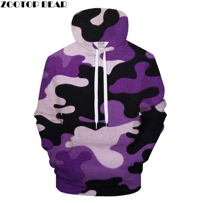 Purple Camo Unisex Hoodies Sweatshirts Camouflage Coat Streetwear Pullover Brand Hoodie Fun Casual Male Clothing Drop Ship
