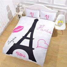 3pcs 3D Cute Bedding Set Luxury  King Queen Romantic Wedding Duvet Cover Paris Sets Towel Bed Linen E