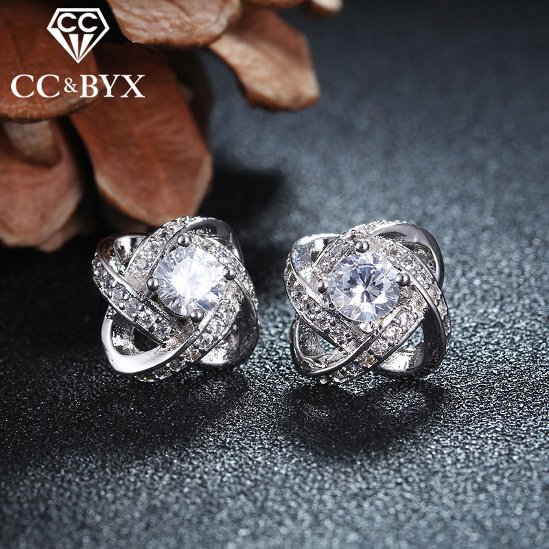 Fashion Design White Gold color Stud Earrings for Women Fine Jewelry Bijoux boucle d'oreille Brincos CCE045