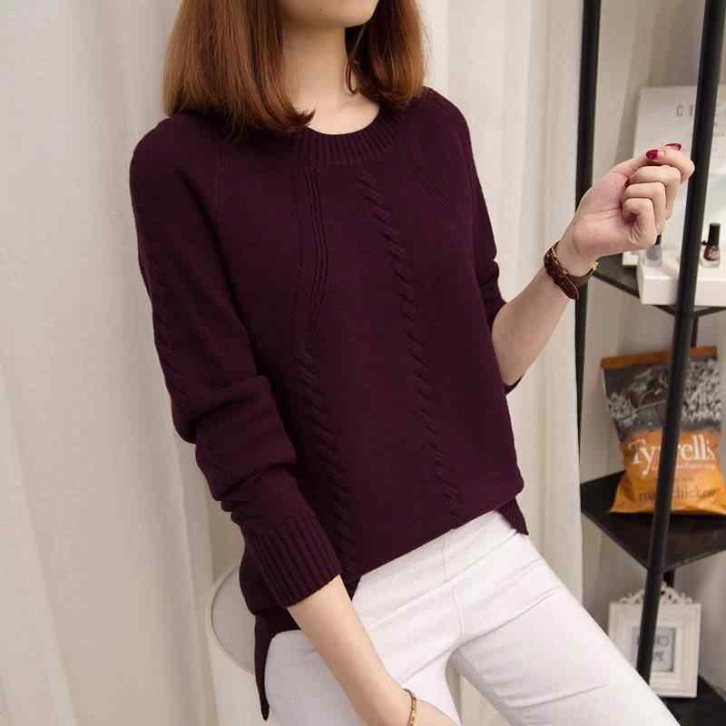 VANGULL Pullover suéteres de mujer Otoño Invierno cuello redondo de manga larga párrafo corto camisa de fondo mujer versión de la suelta