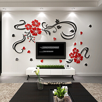3D Flower Vine Acrylic Wall stickers home decor Large Flowers wall decor stickers For living room bedroom Diy Home Decoration