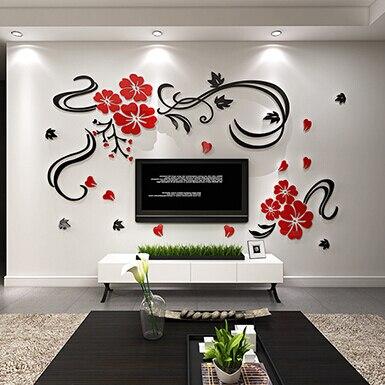 3D с цветочной акриловые наклейки home decor крупные цветы Настенный декор Стикеры для гостиной спальня Diy украшения дома