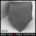 Envío libre de Plata Rayas Jacquard Hombres corbata corbata de Regalo para el Novio lazos de Navidad 1 pc/lot
