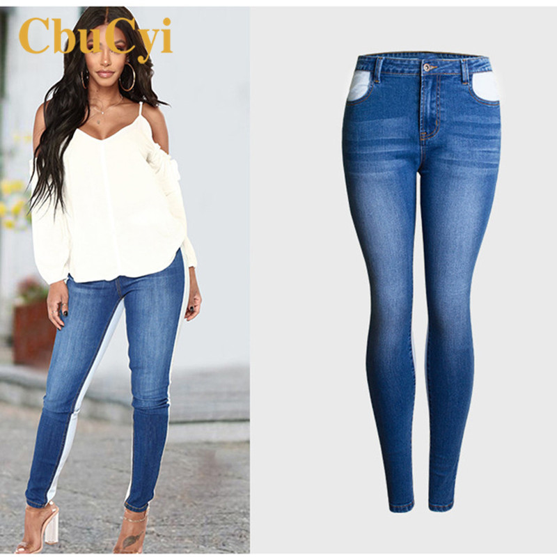 CbuCyi Women Blue Denim Pant Plus Size 4XL 2018 Spring Skinny Stretch Jeans Trousers Female Patchwork Bleached Sexy Pencil Pant boyfriend jeans women pencil pants trousers ladies casual stretch skinny jeans female mid waist elastic holes pant fashion 2016 page 9