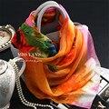 Подлинная Шелковые Шарф Женщин Моды Классический Красный Orange Цвета Печати Шарфы Весна Лето Зима Бренда Хорошее Качество Шаль