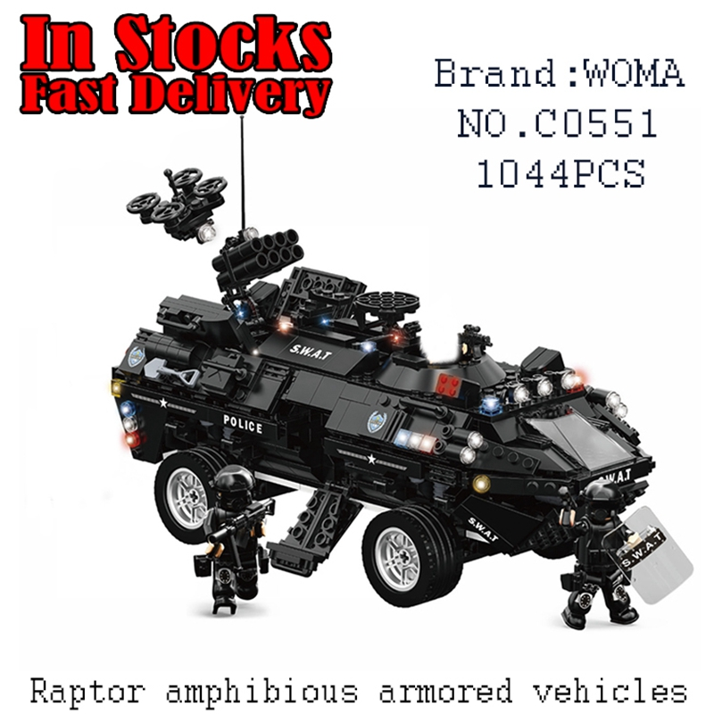 WOMA Military Raptor Amphibious Armored Vehicles C0551 1044pcs Building Blocks Bricks educational toys for children brinquedos 8 in 1 military ship building blocks toys for boys