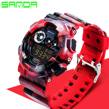 2016 Sanda Fashion Casual Watch Men Military G Style Watches Luxury Sports Digital Watch Waterproof Silicone Watches