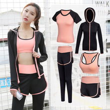 5 pcs Women T-Shirt Vest Tops Sport Yoga Bra Set For Running Fitness Pants Short Sleeve Shorts Pant Gym Training Set Suit women yoga suit outfit fitness clothes running outdoor jogging clothing gym sport 5 pcs set bra t shirt jacket short pant