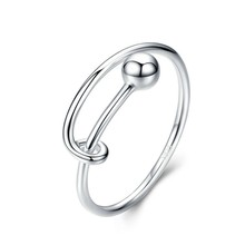 Adjustable Rings for Women 925 Sterling Silver Rings Round Bead Minimalist Finger Ring for Size 6 7 8 Fine Jewelry SCR520 f i n s 100% 925 sterling silver finger rings for women thick chain twist adjustable ring female for decoration fine jewelry
