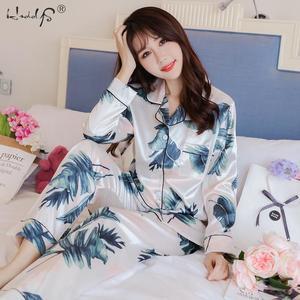 Image 4 - Pijamas de M 5XL de talla grande para mujer, top de seda satinado + Pantalones largos, conjunto de noche