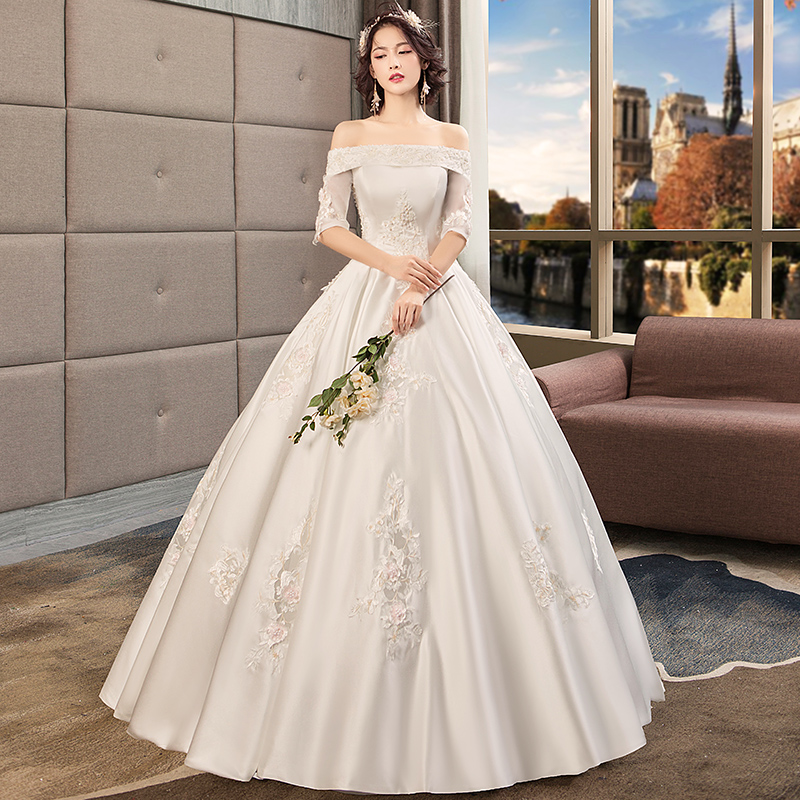 Custom Elegant Satin Wedding Dresses 2019 Plus Size Wedding Gown V-neck Lace Up Brush Train Ball Gowns Robe De Mariage